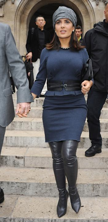 Salma Hayek in an unflattering navy and black look