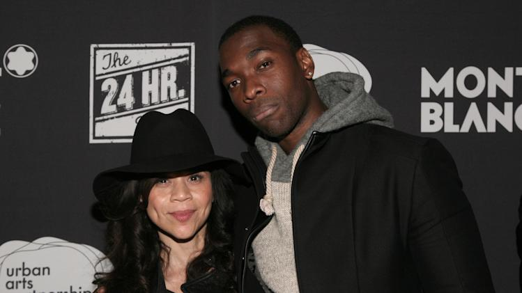 Actress Rosie Perez, left, and comedian Jay Pharoah, right, attend the 24 Hour Plays on Broadway after party on Monday, Nov. 18, 2013 in New York. (Photo by Andy Kropa/Invision/AP)