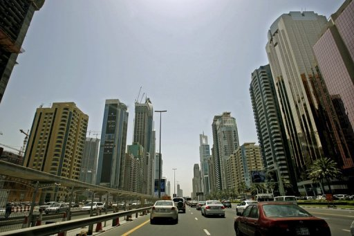 "A picture dated April 27, 2008 shows buildings along Sheikh Zayed Road in Dubai. UAE authorities on Wednesday announced busting a cell of Saudi and Emirati members plotting ""terror"" attacks in the two countries and other states"