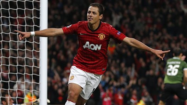 Manchester United's Javier Hernandez celebrates his second goal against Braga during their Champions League Group H match at Old Trafford in Manchester (Reuters)