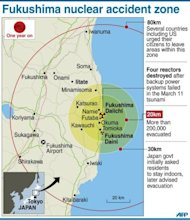 Graphic showing the evacuation zone around Japanes striken Fukushima nuclear power plant