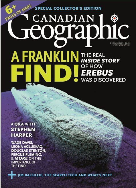 The cover of the December issue of Canadian Geographic showing a 3D model of HMS Erebus.Click here for high-resolution version