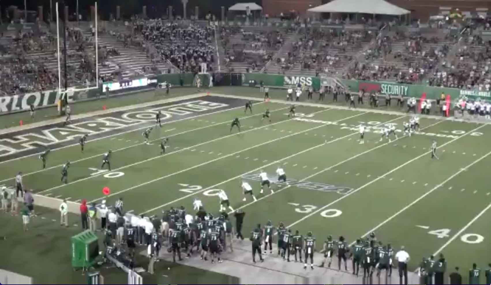 Eastern Michigan kicked off from the opposing 20 thanks to three personal foul penalties.