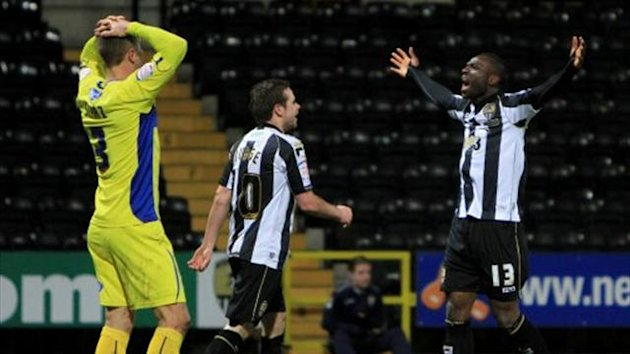 Notts County's Francois Zoko (right) celebrates scoring