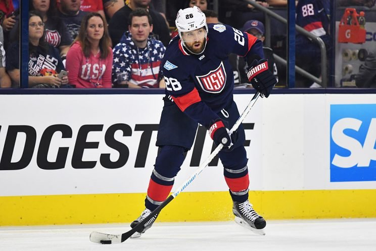 COLUMBUS, OH - SEPTEMBER 9: Blake Wheeler #26 of Team USA looks to pass the puck during the first period of an exhibition game against Team Canada on September 9, 2016 at Nationwide Arena in Columbus, Ohio. (Photo by Jamie Sabau/World Cup of Hockey via Getty Images)