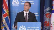B.C. NDP Leader Adrian Dix spoke to the Vancouver Board of Trade Tuesday.