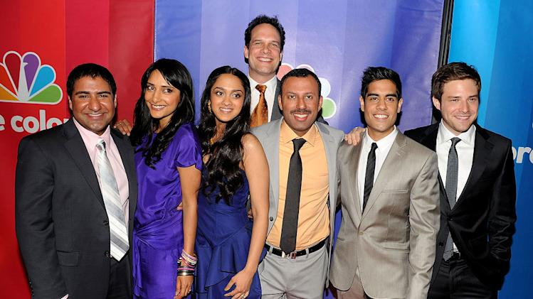 "The cast of ""Outsourced"": (L-R) Parvesh Cheena, Rebecca Hazlewood, Anisha Nagarajan, Diedrich Bader, Rizwan Manji, Sacha Dhawan, and Ben Rappaport attend the 2010 NBC Upfront presentation at The Hilton Hotel on May 17, 2010 in New York City."