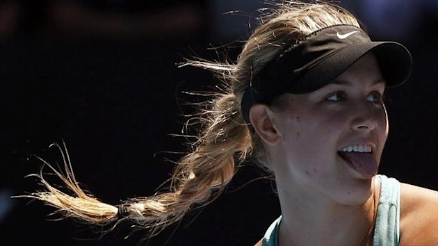 Eugenie Bouchard of Canada reacts during her women's quarter-final tennis match against Ana Ivanovic of Serbia at the Australian Open (Reuters)