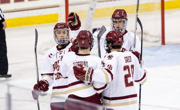 CHESTNUT HILL, MA - NOVEMBER 8: Casey Fitzgerald #5 of the Boston College Eagles celebrates his goal against the New Hampshire Wildcats with his teammates Ryan Fitzgerald #19, Colin White #18 and Ron Greco #28 during NCAA hockey at Kelley Rink on November 8, 2016 in Chestnut Hill, Massachusetts. The Eagles won 5-3. (Photo by Richard T Gagnon/Getty Images)