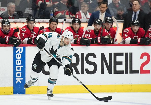 OTTAWA, ON - DECEMBER 14: San Jose Sharks Defenceman Marc-Edouard Vlasic (44) stickhandles the puck during the NHL game between the Ottawa Senators and the San Jose Sharks on December 14, 2016 at the Canadian Tires Centre in Ottawa, Ontario, Canada. (Photo by Steve Kingsman/Icon Sportswire via Getty Images)