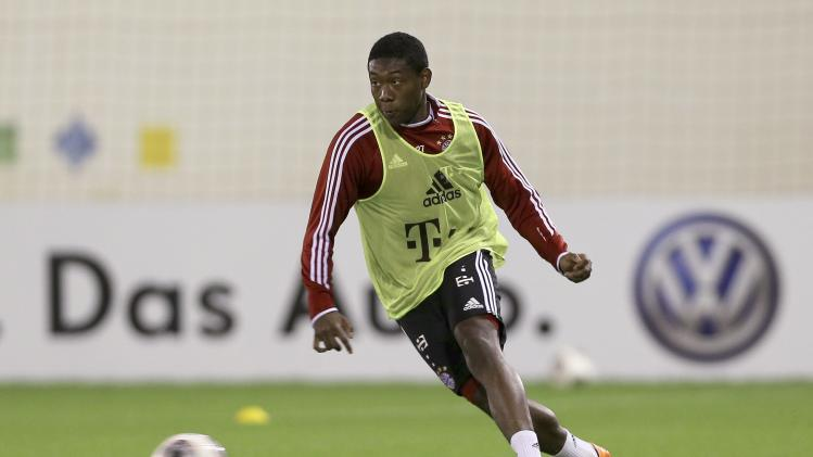 Bayern Munich's David Alaba controls the ball during a training session at Aspire Academy for Sports Excellence in Doha