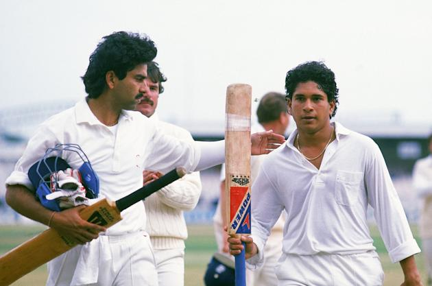 Sachin Tendulkar and Manoj Prabhakar at Old Trafford , August 14th 1990