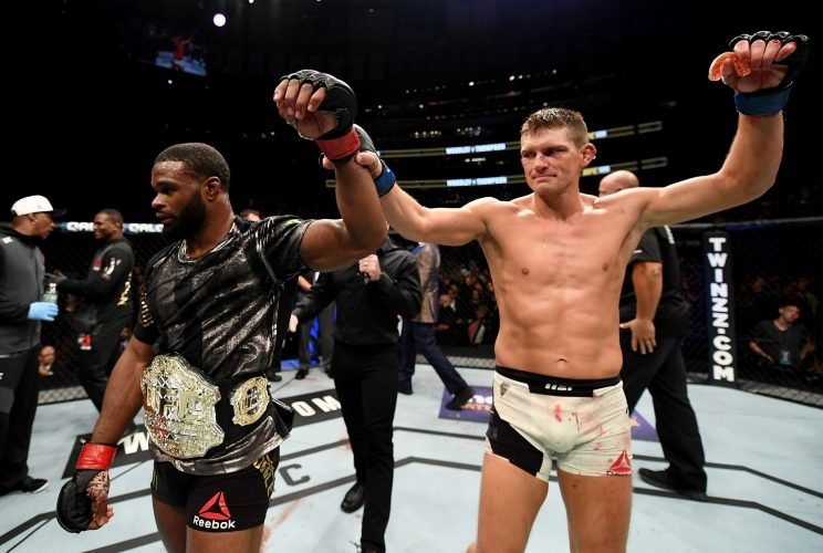 Welterweight champion Tyron Woodley (L) and Stephen