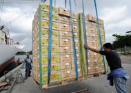 Boxes of freshly harvested Philippine bananas destined for China and South Korea are loaded in a cargo vessel in Tagum in Davao del Norte province, located in the southern island of Mindanao in 2008. The Philippine government said Sunday it was working to resolve mass delays of Philippine fruit exports to China, amid a tense stand-off between the two countries over disputed maritime territory