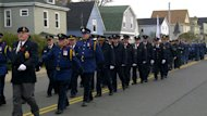 Veterans march through Sydney Mines on Remembrance Day.