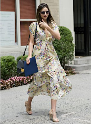 Miranda Kerr Runs Around NYC In Sexy Plunging Floral Frock
