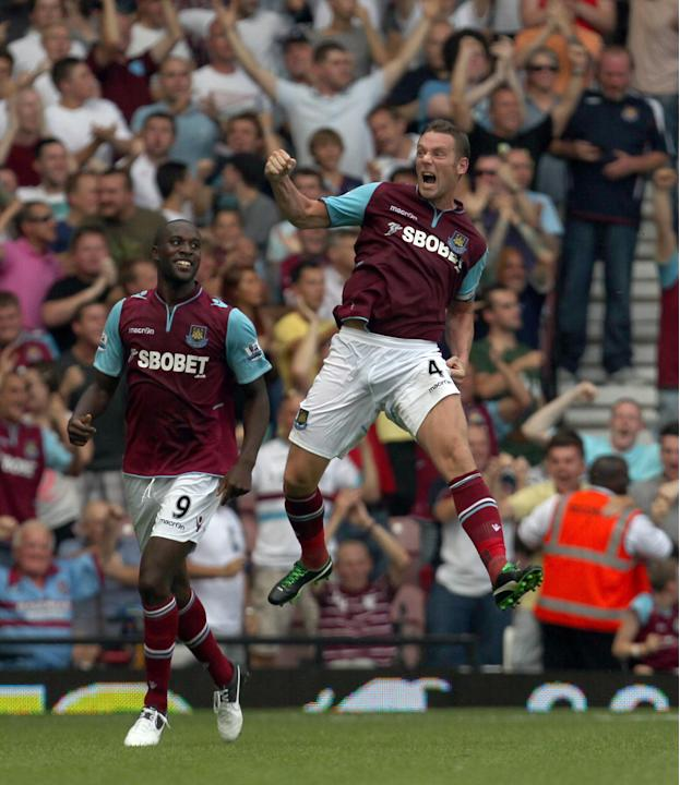 Kevin Nolan, right, grabbed West Ham's winner upon their return to the top flight