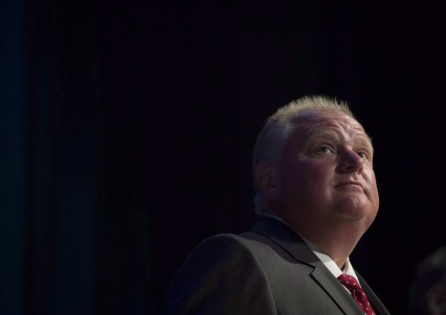 Rob Ford pauses while participating in a mayoral debate in Toronto on July 15, 2014. (Darren Calabrese/The Canadian Press)