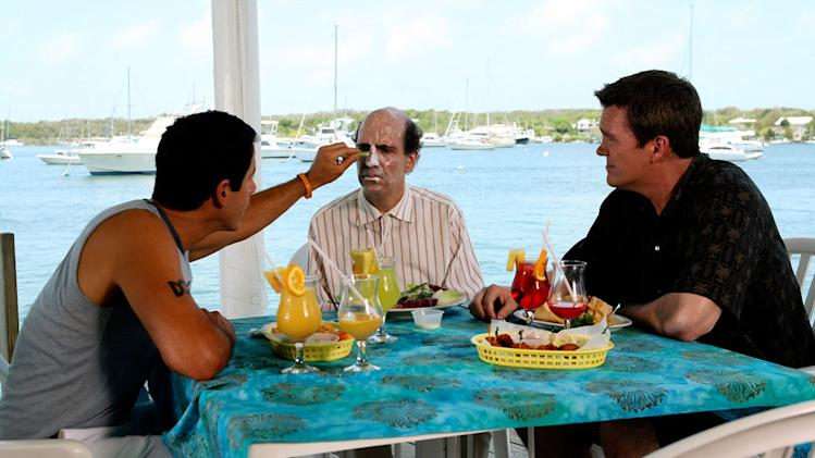 "Todd helps himself to Ted's sunblock while in the Bahamas for the Janitor's wedding in the second of a two-part episode of ""Scrubs."""