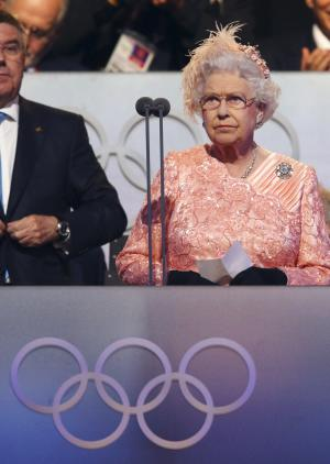 Britain's Queen Elizabeth II declares the games open during the Opening Ceremony at  the 2012 Summer Olympics, Saturday, July 28, 2012, in London. (AP Photo/Cameron Spencer, Pool)