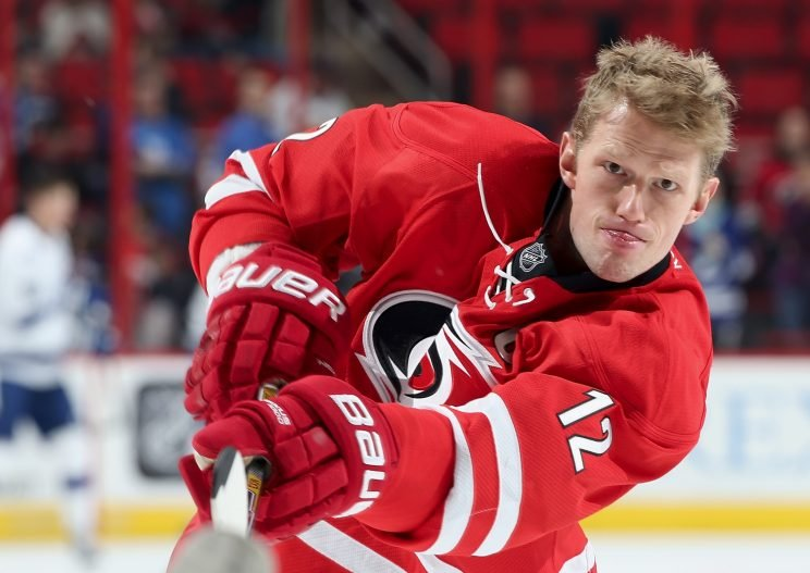 RALEIGH, NC - FEBRUARY 21: Eric Staal #12 of the Carolina Hurricanes warms up prior to an NHL game against the Tampa Bay Lightning at PNC Arena on February 21, 2016 in Raleigh, North Carolina. (Photo by Gregg Forwerck/NHLI via Getty Images)