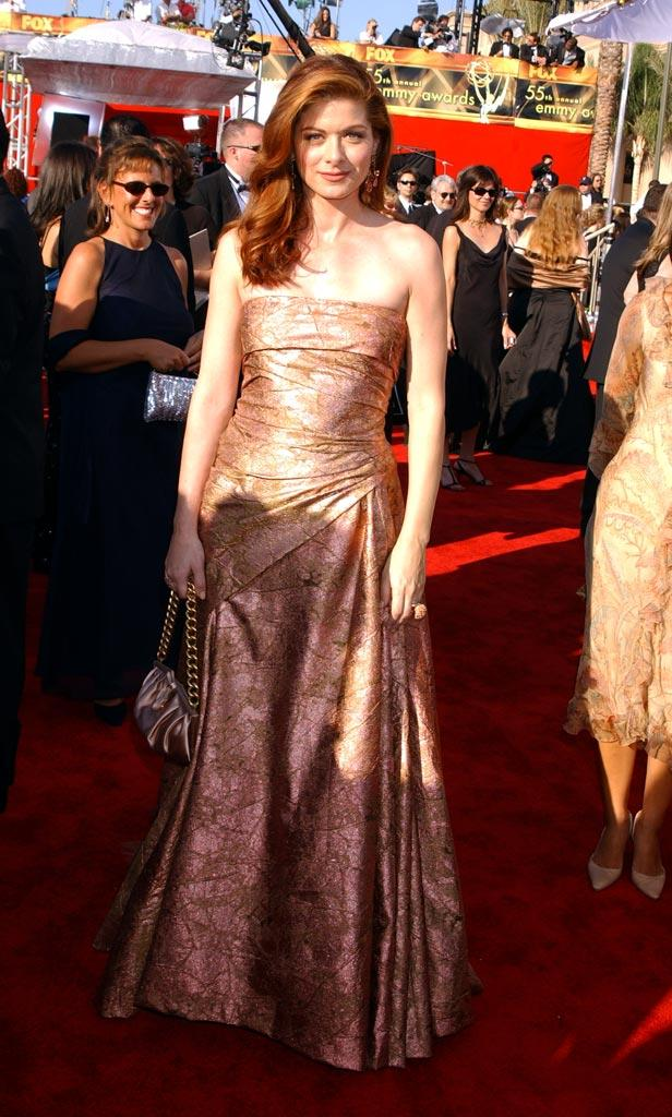 Debra Messing at The 55th Annual Primetime Emmy Awards.