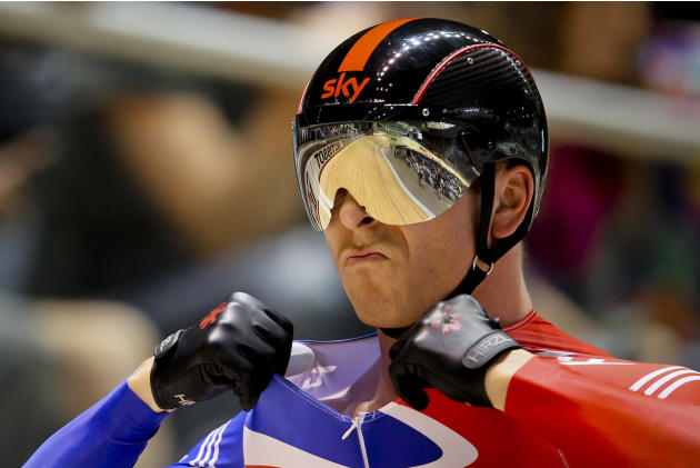 Chris Hoy from Britain focuses before competing in the men's sprint event at the 2012 Track Cycling World Championships in Melbourne, on April 7, 2012.  AFP PHOTO / Mark GUNTER  IMAGE STRICTLY RES