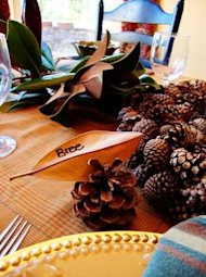 leaf pine cone place card name