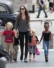 Angelina Jolie sighted arriving at The London Aquarium with her children Shiloh, Knox, Vivienne and Zahara in London on July 25, 2011 -- FilmMagic