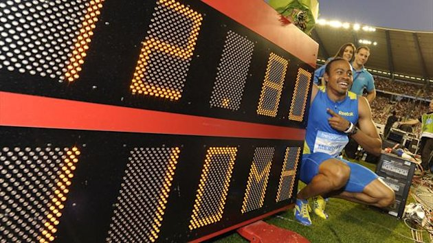 Aries Merritt of the U.S. celebrates after winning the men's 110m hurdles event at the IAAF Diamond League athletics meeting, also known as Memorial Van Damme in Brussels (Reuters)