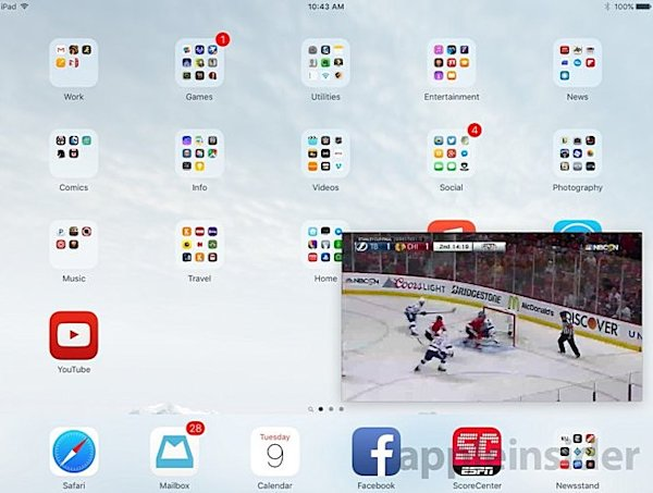 ▲iOS 9的Picture in picture功能,僅限iPad Air、iPad Air 2、iPad mini 2、iPad mini 3等平板上才能執行。