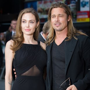 Angelina Jolie and Brad Pitt at the World War Z premiere in London's Leicester Square