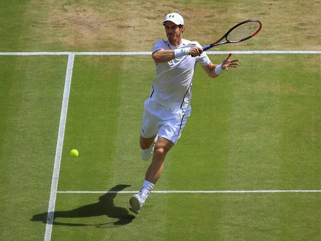 Andy Murray in action v Milos Raonic at the Wimbledon final in 2016