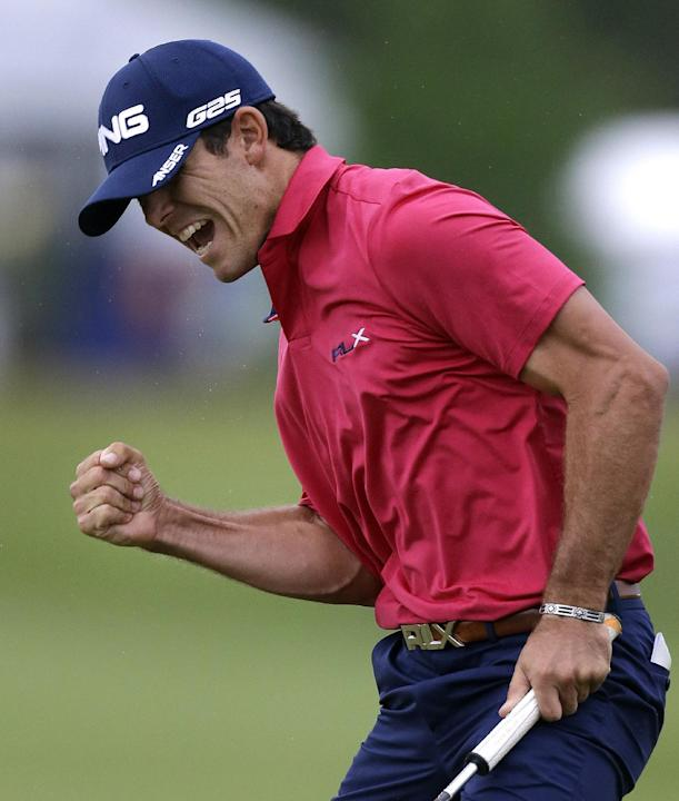 In this April 28, 2013 file photo, Billy Horschel celebrates after sinking a birdie putt on the 18th green to win the Zurich Classic golf tournament at TPC Louisiana in Avondale, La. Horschel is back