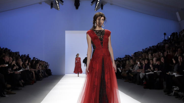 The Tadashi Shoji Fall 2013 collection is modeled during Fashion Week in New York on Thursday, Feb. 7, 2013. (AP Photo/Richard Drew)