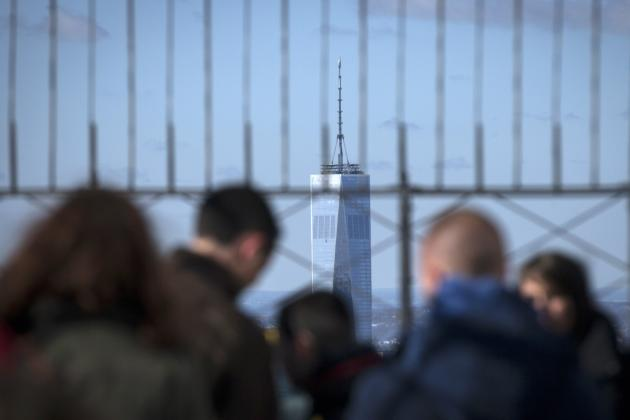 One World Trade Center is seen from observation deck of Empire State Building in New York