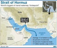 Graphic showing the Strait of Hormuz that links the Gulf to the Arabian Sea. Several commanders and officials have vowed that Iran reserves as an option closing the strait -- a strategic choke point for much of the Middle East's oil -- if its nuclear facilities are targeted by military strikes