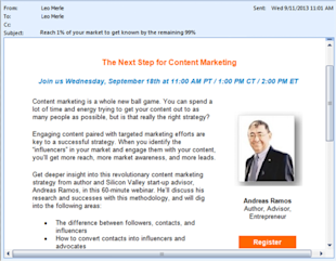 5 Ways to Promote Your Webinar image Webinar invite email