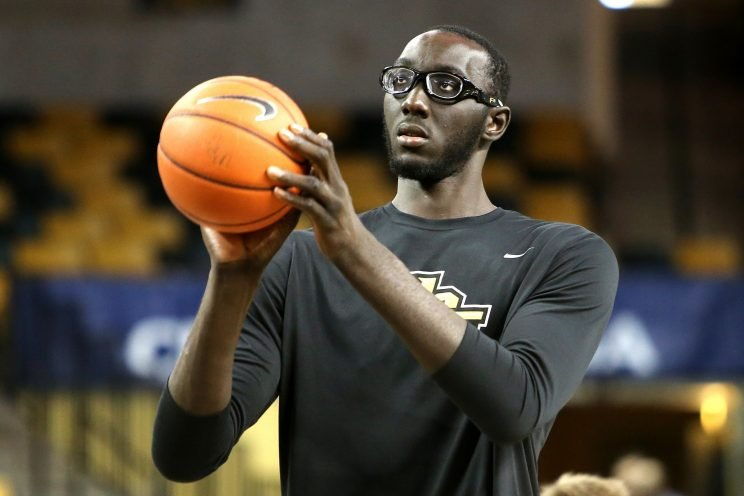 Tacko Fall is averaging 12.2 points and 9.9 rebounds per game for UCF this season. (Getty)