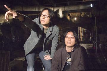 Directors Oxide Pang and Danny Pang on the set of Columbia Pictures' The Messengers