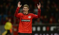 Leverkusen's striker Stefan Kiessling reacts after the German first division Bundesliga football match against Hamburger SV in the German city of Leverkusen on December 15, 2012. Leverkusen beat Hamburg 3-0