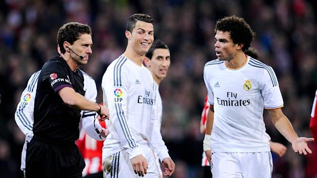BILBAO, SPAIN - FEBRUARY 02: Cristiano Ronaldo of Real Madrid CF smiles after being shown a red card by the referee Ayza Gamez during the La Liga match between Athletic Club and Real Madrid CF at San Mames Stadium on February 2, 2014 in Bilbao, Spain. (Ph
