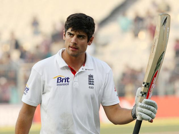 England captain Alastair Cook acknowledges the cheers after his innings in the Eden Gardens Test in Kolkata.