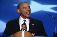 US President Barack Obama delivers his acceptance to run for a second term as president at the Democratic National Convention