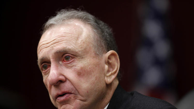 FILE - In this Monday, March 29, 2010, file photo, Sen. Arlen Specter, D-Pa., leads a Senate field hearing, in Philadelphia. Former U.S. Sen. Arlen Specter, longtime Senate moderate and architect of one-bullet theory in JFK death, died Sunday, Oct. 14, 2012.  He was 82. (AP Photo/Matt Rourke, File)