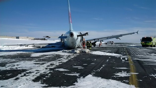 An Air Canada passenger jet that crashed is shown at the Stanfield International Airport in Halifax. (CP)