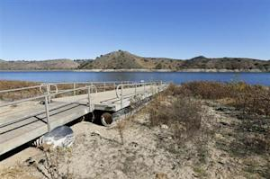 Receding water line of Lake Hodges is shown in San Diego County after California Governor Jerry Brown declared a drought emergency