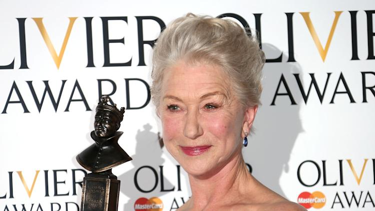 "FILE - This is a Sunday, April 28, 2013 file photo of Helen Mirren winner of Best Actress Award for The Audience in the press room at the Olivier Awards 2013 at the Royal opera House in London. Mirren's award-winning performance as Queen Elizabeth II in ""The Audience"" will be beamed this week from London's Gielgud Theatre to hundreds of movie theaters around the world in a live broadcast. (Photo by Joel Ryan/Invision/AP, File)"