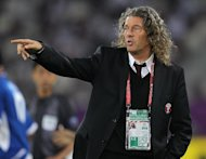 A picture taken on January 16, 2011, shows Bruno Metsu gesturing during a football match between Qatar and Kuwait at Khalifa Stadium in Doha