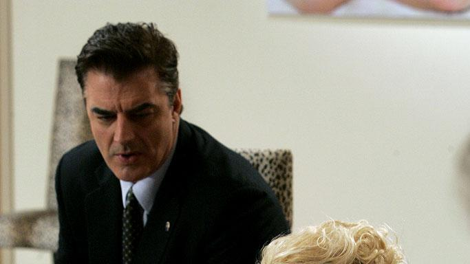 "Chris Noth as Dt. Robert Goren and Kristy Swanson  as Lorelei Mailer in the ""Bombshell"" episode of Law & Order: Criminal Intent."